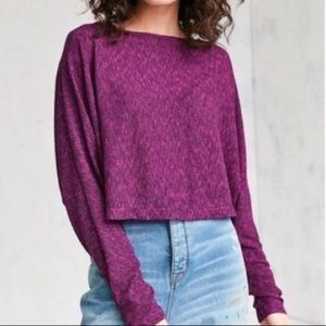 Silence + Noise cropped ribbed stretch dolman top
